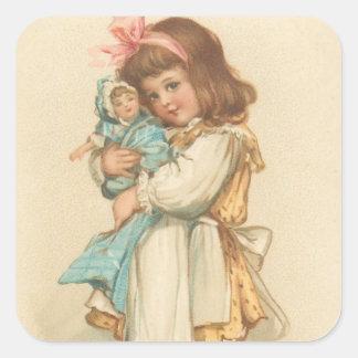 Chica de los saludos del navidad del vintage con pegatina cuadrada