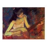 Chica de Maria Cassatt- con un banjo Tarjeta Postal