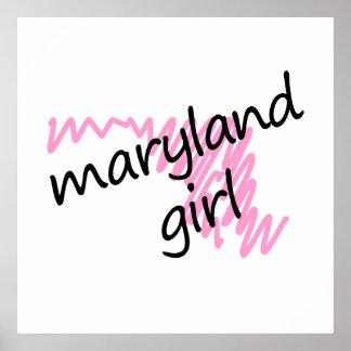 Chica de Maryland con el mapa garabateado de Maryl Impresiones