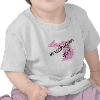 Chica de Michigan con el mapa garabateado de Michi Camisetas