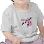 Chica de Michigan con el mapa garabateado de Camisetas