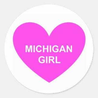 Chica de Michigan Pegatina Redonda