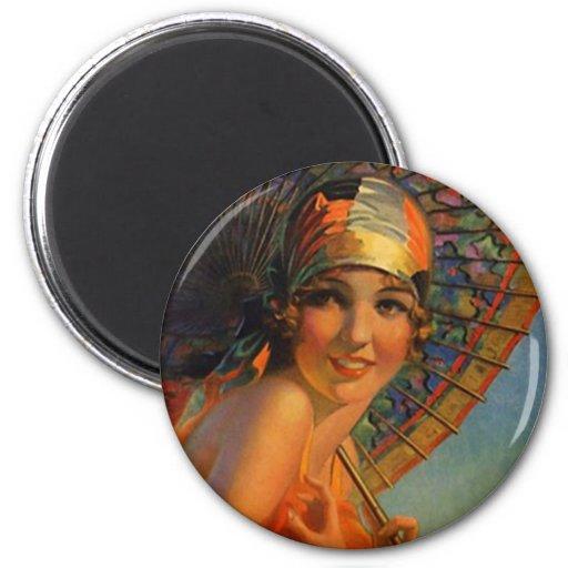 Chica de moda de la aleta con el parasol y el Cloc Imán Redondo 5 Cm