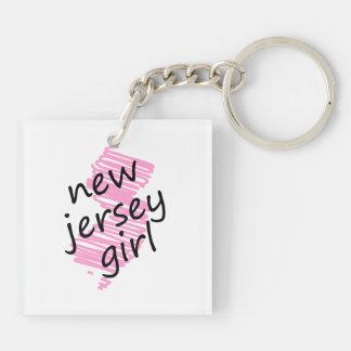 Chica de New Jersey con el mapa garabateado de New Llavero Cuadrado Acrílico A Doble Cara