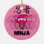 Chica de Ninja Adorno Navideño Redondo De Cerámica