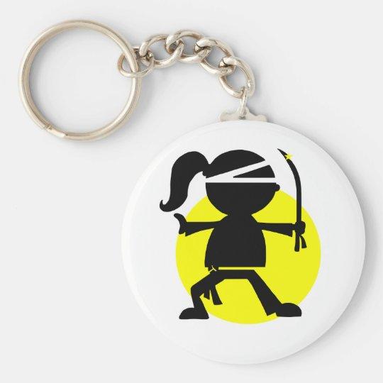 Chica de Ninja Llavero Redondo Tipo Pin