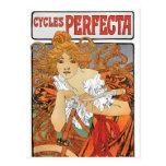 Chica de Nouveau del arte del vintage con la bicic Tarjetas Postales