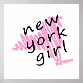 Chica de Nueva York con el mapa garabateado de Nue Posters