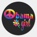 Chica de Obama Pegatinas Redondas