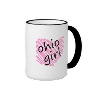 Chica de Ohio con el mapa garabateado de Ohio Taza De Café