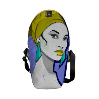 Chica de ojos azules bolsa messenger