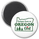 Chica de Oregon Imán De Nevera