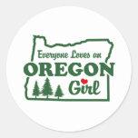 Chica de Oregon Pegatina Redonda