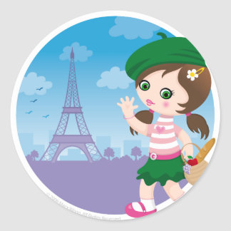 Chica de París Pegatina Redonda