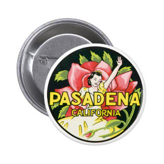 Chica de Pasadena California en rosa Pin Redondo De 2 Pulgadas
