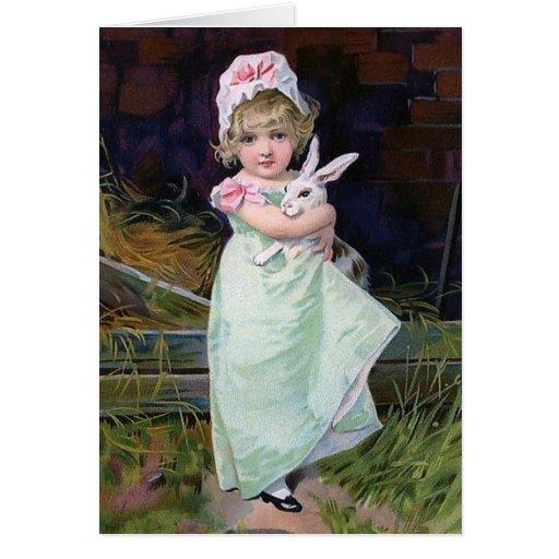 Chica de Pascua del vintage con el conejo Felicitación