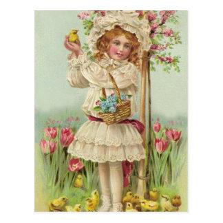 Chica de Pascua del vintage Postal