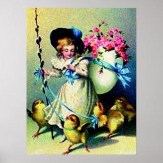 Chica de Pascua del vintage y poster de los pollue