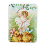 Chica de Pascua que monta los polluelos de Pascua Imán