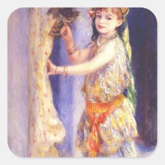 Chica de Pedro-Auguste Renoir- con el halcón Calcomanía Cuadradas