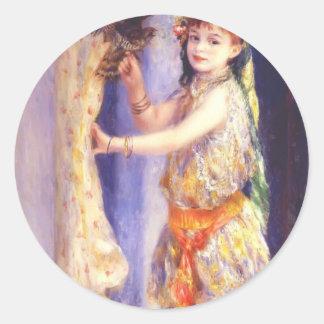 Chica de Pedro-Auguste Renoir- con el halcón Etiquetas Redondas