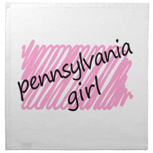 Chica de Pennsylvania con el mapa garabateado de P Servilletas De Papel