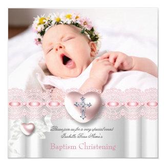 Chica de plata rosado de la cruz del corazón de la