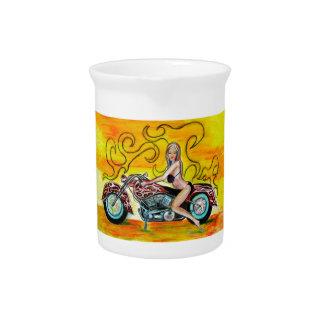 Chica de Popart en una motocicleta Jarrón