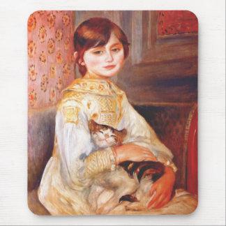 Chica de Renoir con el cojín de ratón del gato Tapetes De Ratones