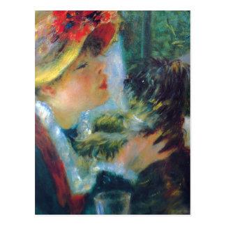Chica de Renoir con la postal del perro
