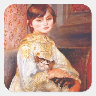 Chica de Renoir con los pegatinas del gato Pegatinas Cuadradas Personalizadas