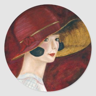 Chica de rugido de la aleta de los años 20 de los pegatina redonda