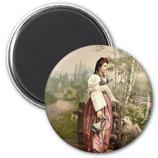 Chica de Sarajevo, Bosnia, Austro-Hungría P clásic Imán Redondo 5 Cm