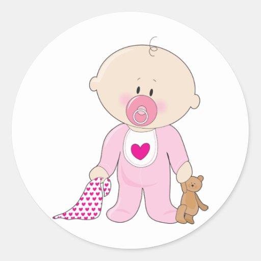 Chica de Soother del bebé Pegatina Redonda