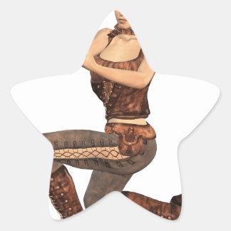 Chica de Steampunk con el arma Calcomanías Forma De Estrellas