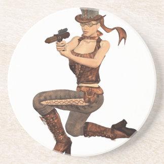 Chica de Steampunk con el arma Posavasos Para Bebidas