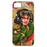 Chica de Steampunk con la serpiente gigante iPhone 5 Coberturas