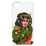 Chica de Steampunk con la serpiente verde grande iPhone 5 Case-Mate Cárcasa