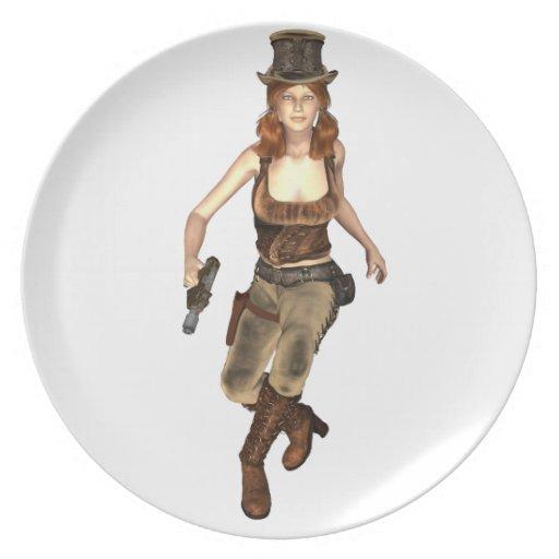 Chica de Steampunk Platos Para Fiestas