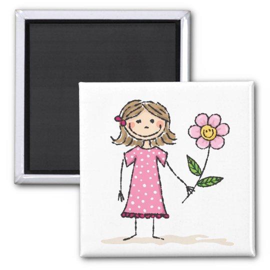 Chica de Stickfigure con la flor sonriente Imán Cuadrado