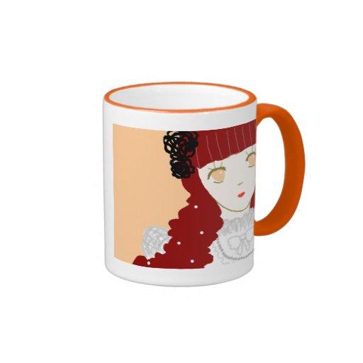 Chica de sueño dulce taza de café