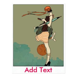 Chica de Texting Tarjetas Postales