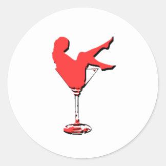 Chica de Vagas Martini del vintage Pegatina Redonda