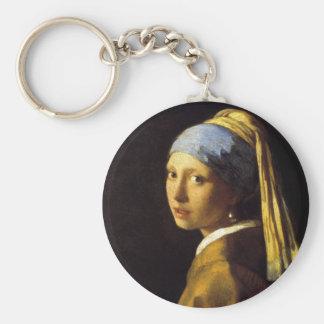 Chica de Vermeer con una bella arte del pendiente  Llaveros