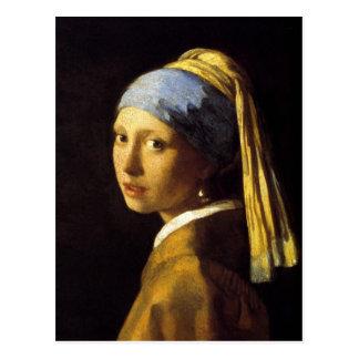 Chica de Vermeer con una bella arte del pendiente  Postal