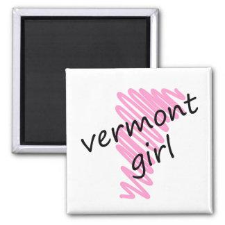 Chica de Vermont con el mapa garabateado de Vermon Imán Cuadrado