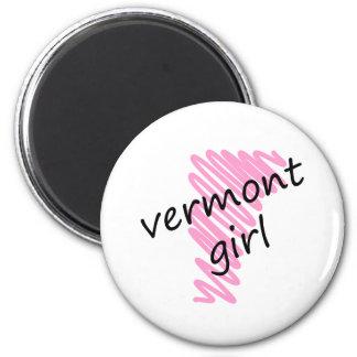 Chica de Vermont con el mapa garabateado de Vermon Imán Redondo 5 Cm