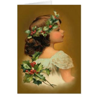 Chica del acebo del navidad tarjeta de felicitación