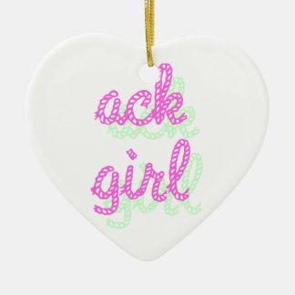 Chica del Ack Adorno Navideño De Cerámica En Forma De Corazón
