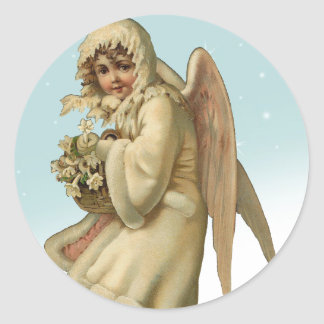 Chica del ángel del navidad del Victorian Etiquetas